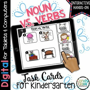 Noun and Verbs Digital Task Cards - Paperless for Kindergarten