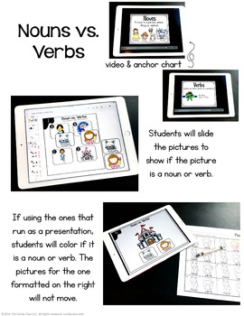 Noun and Verbs Digital Task Cards - Paperless for Google Slides Use