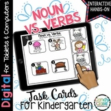 Noun and Verbs Activity: Task Cards for Kindergarten Google Classroom Use