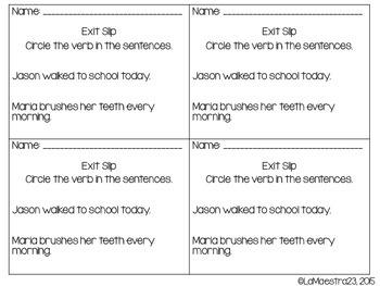 Noun and Verbs Exit Slips