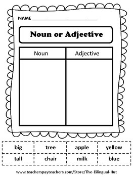 Noun or Adjective Word Sort (Cut and Paste)