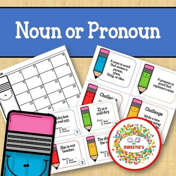 Noun or Pronoun Task Cards - Pencils