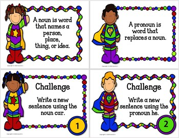 Noun or Pronoun Task Cards - Superhero