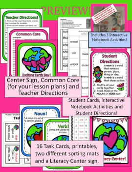 Noun or Verb? Earth Day Task Cards, Center Games, Printables and More
