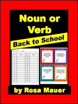 Noun or Verb Back to School Language Arts Activity