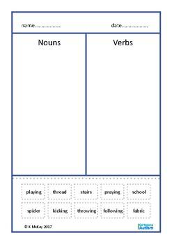 Noun Verb Sort Cut Paste Autism Special Education