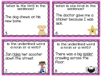 Noun or Verb? Task Cards or Scoot Game