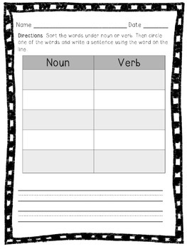 Noun or Verb Word Sort