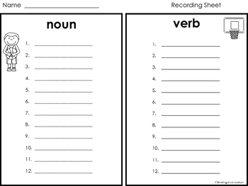 Noun or Verb Word Sort -Basketball Theme