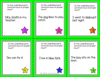 Noun task cards, pronoun, plural, common, proper, Write the room 1st and 2nd gr.