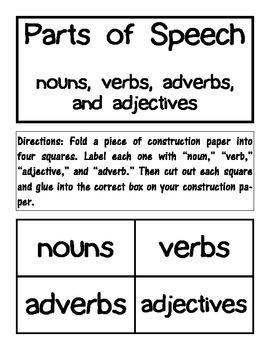 Noun, verb, adjective, adverb word sort