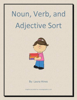 Noun, verb, and adjective leveled cut and paste sorting activity