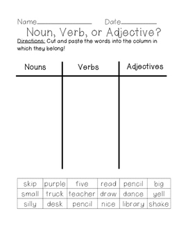 Noun, verb, and adjective sort!