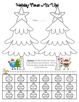 Noun vs. Proper Noun Sort - Christmas Themed