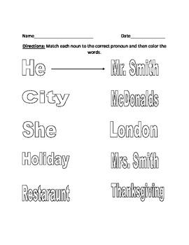 Noun worksheet