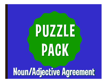 Spanish Noun Adjective Agreement Puzzle Pack