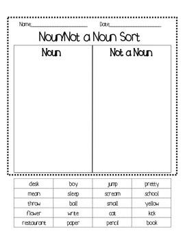 Noun/Not a Noun Sort