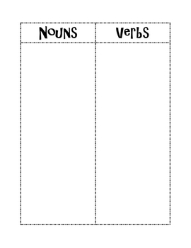Noun/Verb Picture Sort