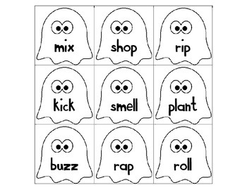 Nouns and Verbs Sorting Cards Ghost Themed