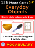 Photo Picture Cards *126 EVERYDAY OBJECTS* 4 Speech Therapy Autism Sp Ed ESL