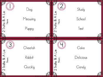 Nouns 2 Truths and a Lie Task Card Activity