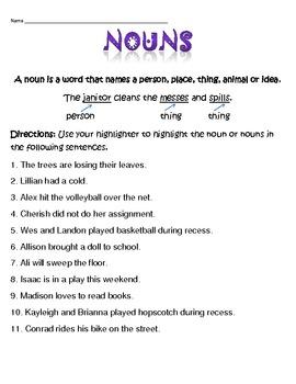 Nouns Activity Sheet