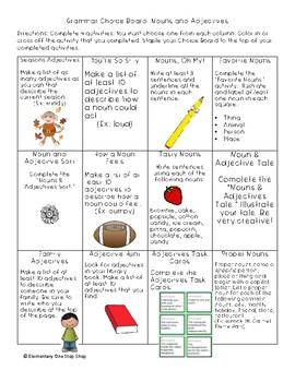 NO PREP Print & Go Nouns & Adjectives Choice Board and attachments