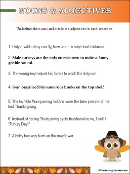 Nouns & Adjectives - Thanksgiving