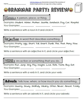 Nouns, Adjectives, Verbs, Adverbs Grammar Packet + Test