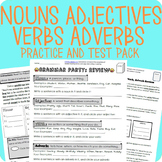 Nouns, Adjectives, Verbs, Adverbs Grammar Packet + Test