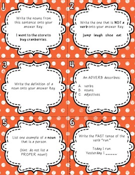Thanksgiving Themed Language Review {Task Cards/Scoot}