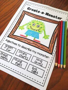 nouns adjectives verbs printable worksheet bundle kindergarten first second. Black Bedroom Furniture Sets. Home Design Ideas