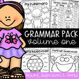 Nouns, Adjectives and Verbs Worksheets - Grammar Packet