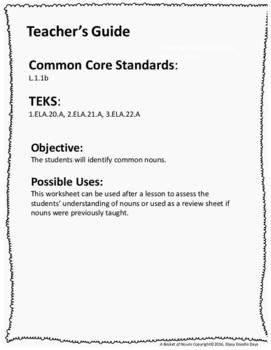 Nouns -- Apple Theme -- Common Core and TEKS aligned