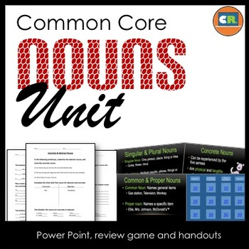 Nouns Unit - Parts of Speech Unit (Noun PowerPoint, handouts, review game)