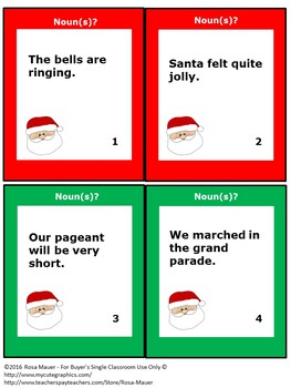 Christmas Nouns Task Cards and Worksheet