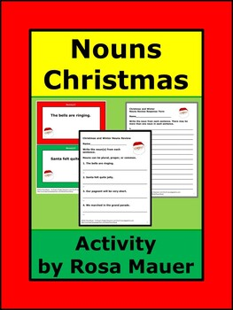 Nouns Christmas Theme Review Task Cards and Worksheet