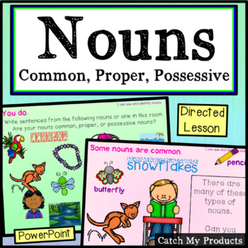 Parts of Speech : Nouns (Common, Proper, Possessive) in Power Point for Primary