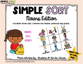 Nouns, Common, Proper, Singular, and Plural Sorting Cards