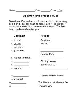 Nouns: Common and Proper