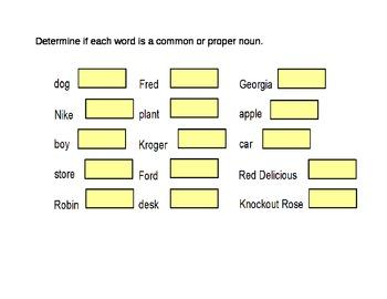 Nouns: Common and Proper Nouns Lesson