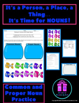 Nouns - Common and Proper Nouns Quiz/Practice Sheet