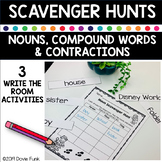 Compound Words and Contractions Activity - Scavenger Hunt Worksheets Nouns