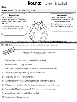 Nouns: Concrete & Abstract Worksheets