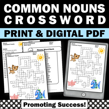 Nouns Worksheets Crossword Puzzle, Parts of Speech Review, Emergency Sub Plans