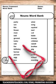 Nouns Crossword Puzzle, ELA Early Finishers