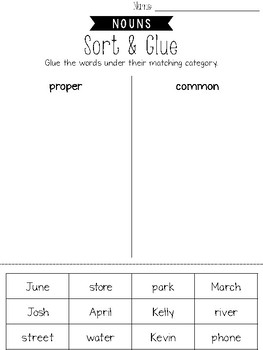 Nouns Cut and Paste Activities