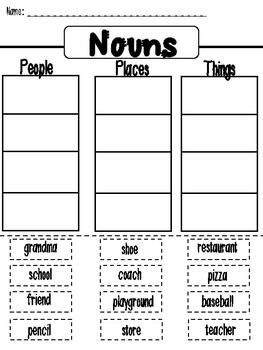 Nouns: Cut and Paste Sort Activity