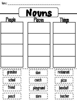 Nouns: Cut and Paste Sort Activity