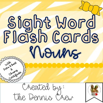 Nouns Sight Word Cards